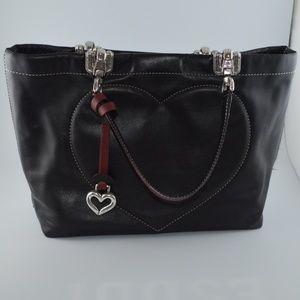 Brighton Blk Glove Leather Handbag Stitched Heart
